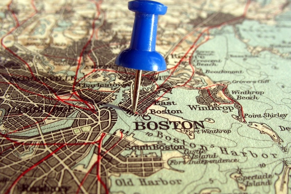 pushpin on map in boston for functional medicine doctor